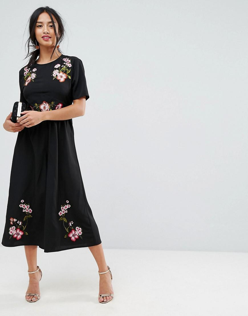4b0081eff6696 ASOS Black Tea Jumpsuit With Embroidery