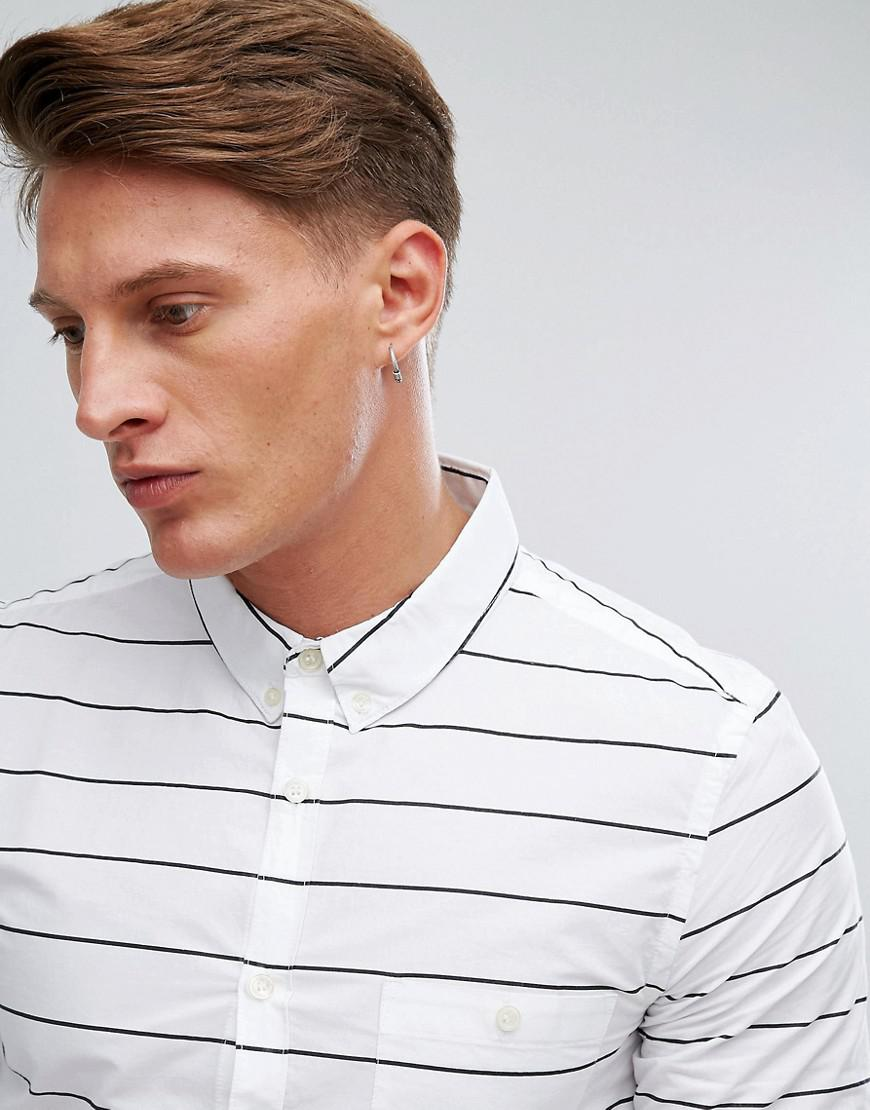 French Connection Cotton Shirt With Stripe in White for Men