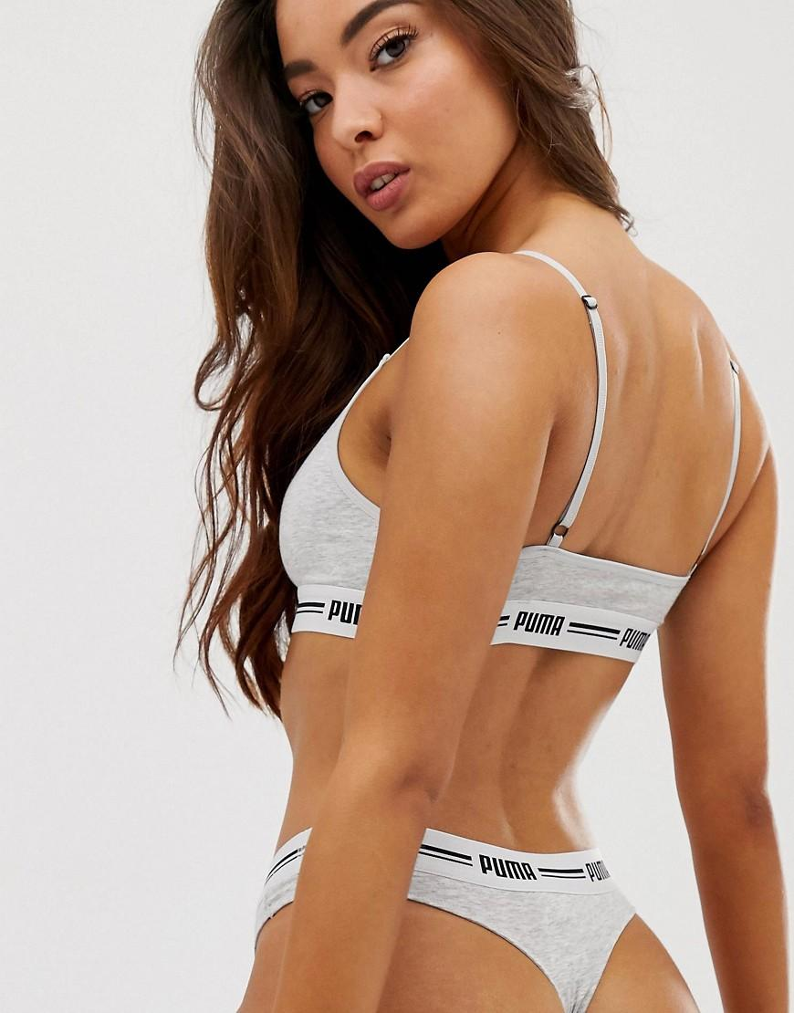 PUMA Cotton Iconic String 2 Pack Thong in Grey (Grey) - Lyst