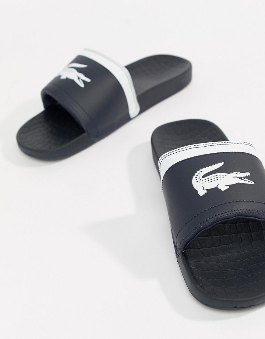 Lacoste Leather Fraisier Croc Sliders
