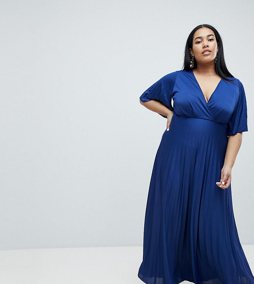 0a625b7afd8 ASOS Asos Design Curve Kimono Pleated Maxi Dress in Blue - Lyst