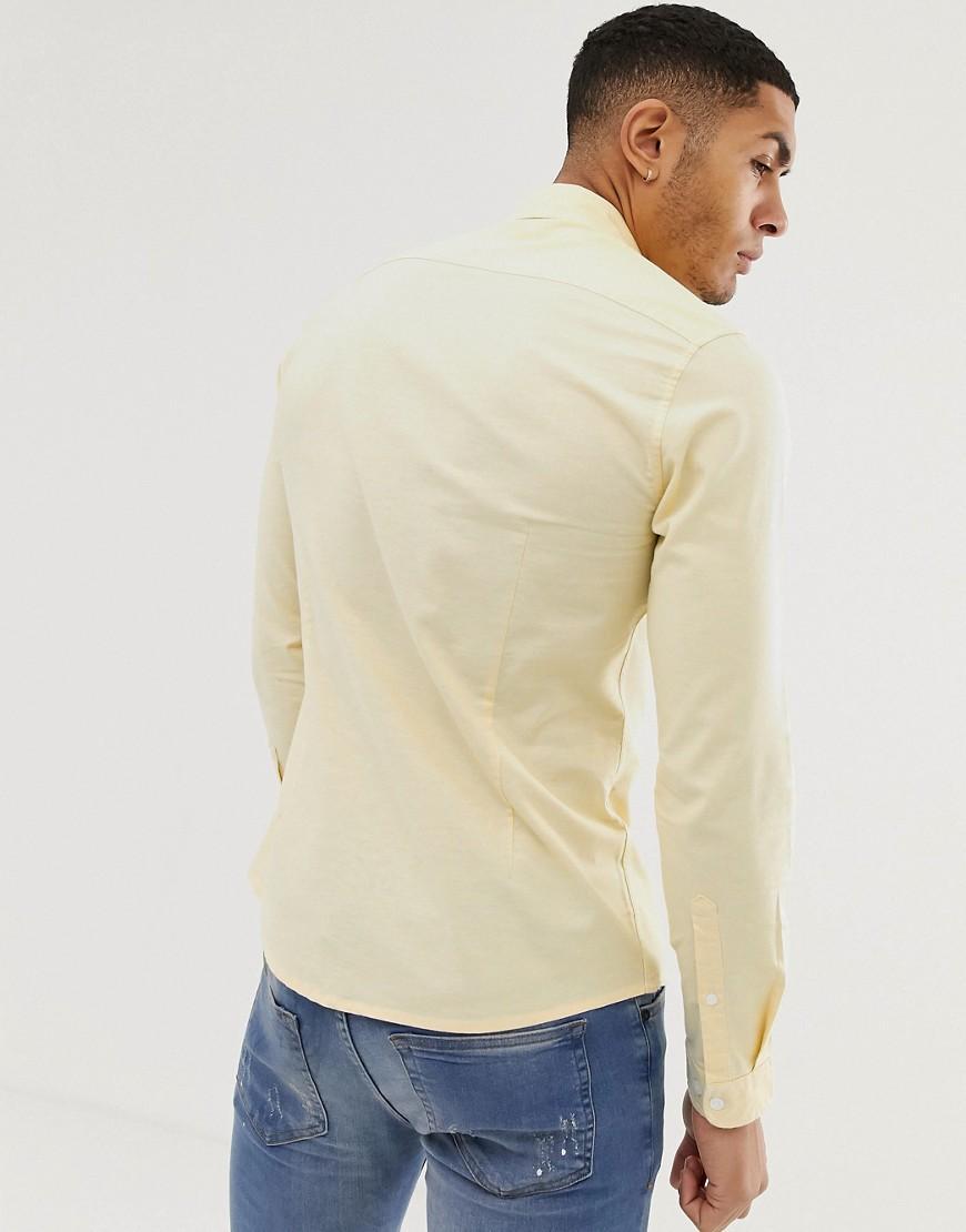 ASOS Katoen Slim-fit Oxford Overhemd in het Geel voor heren