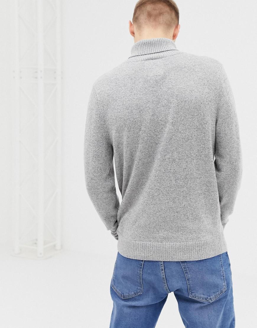 015767b2cb2 Lyst - Hollister Icon Logo Lightweight Knit Roll Neck Sweater In Light Gray  in Gray for Men