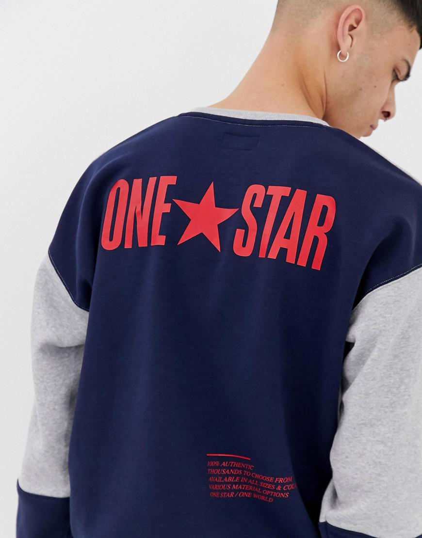 a287fad411cd Converse One Star Sweat In Color Block in Gray for Men - Lyst