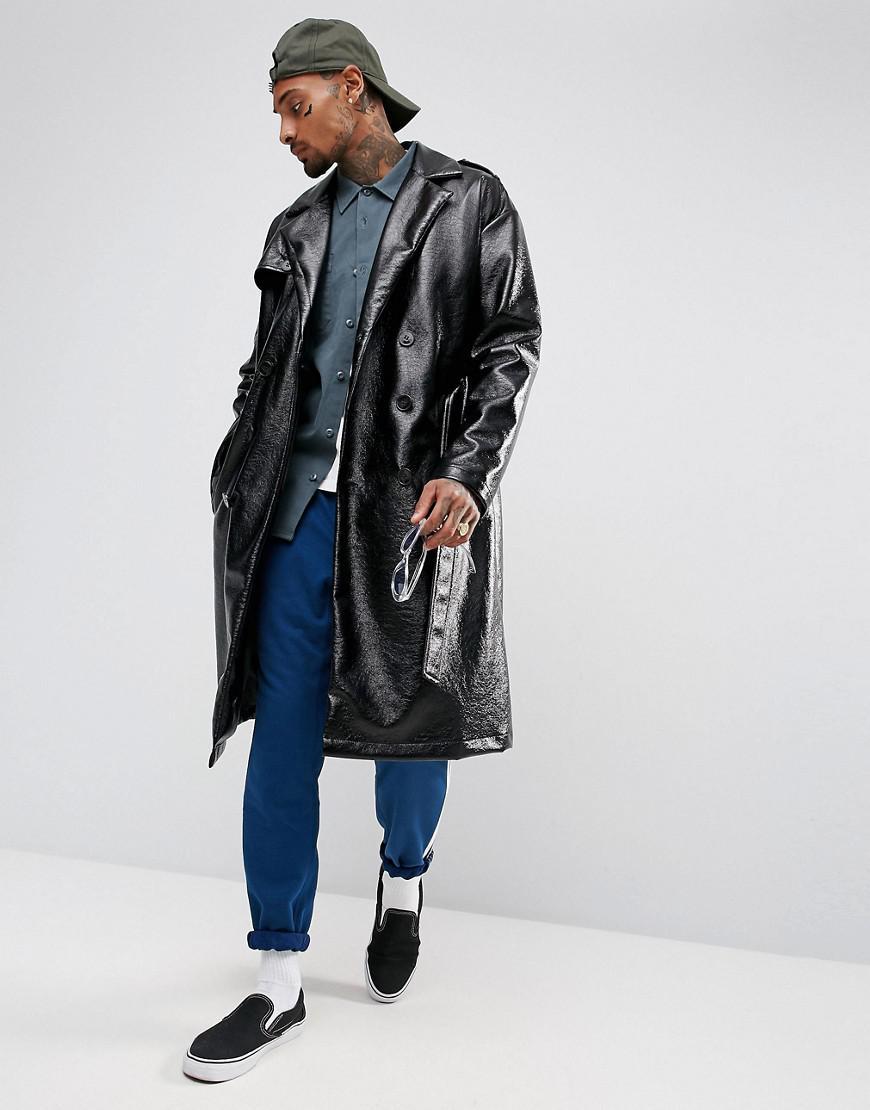 Asos Oversized Vinyl Trench Coat In Black For Men Lyst