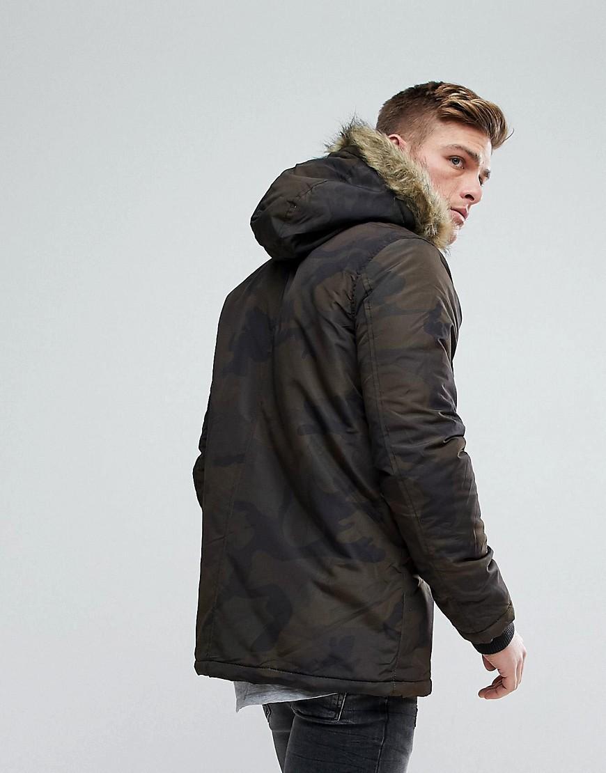 Brave Soul Parka Jacket With Faux Fur trim Hood in 2019
