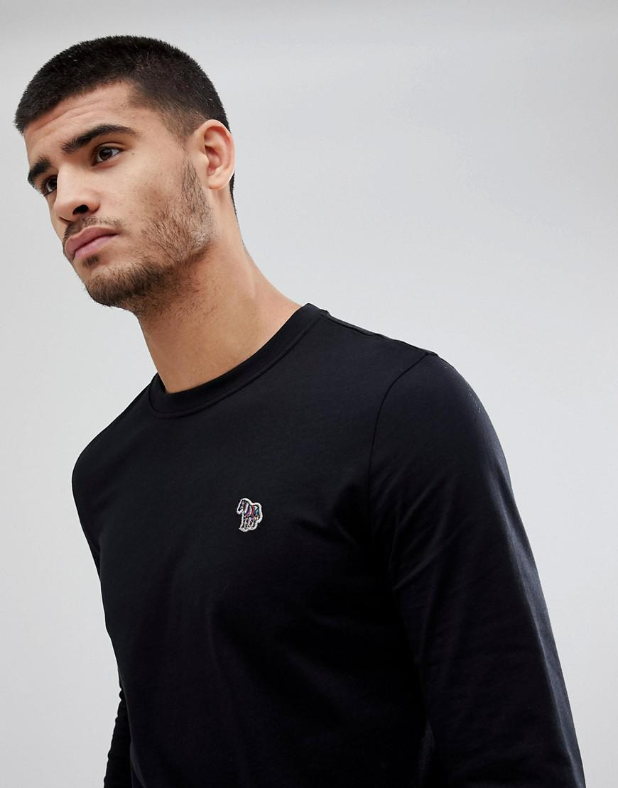 PS by Paul Smith Cotton Long Sleeve Zebra Top In Black for Men