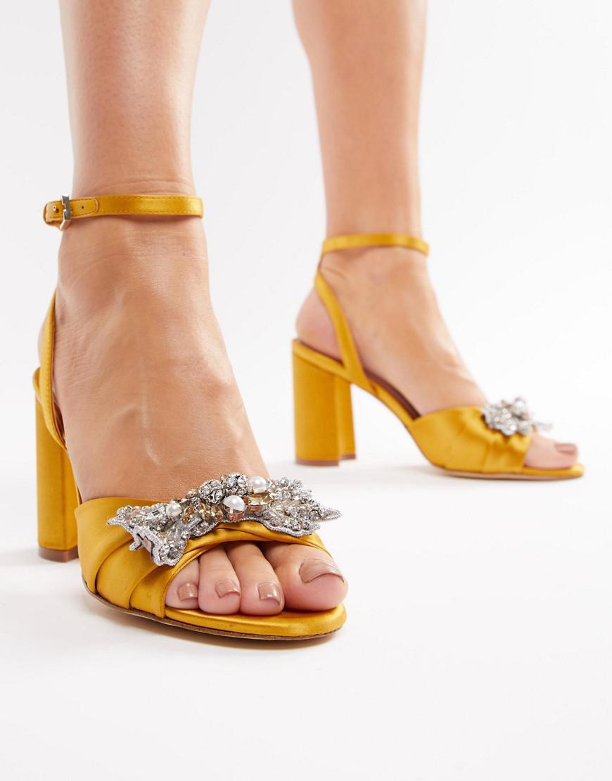 Lyst - ALDO Embellished Mustard Block Heeled Sandals in Yellow