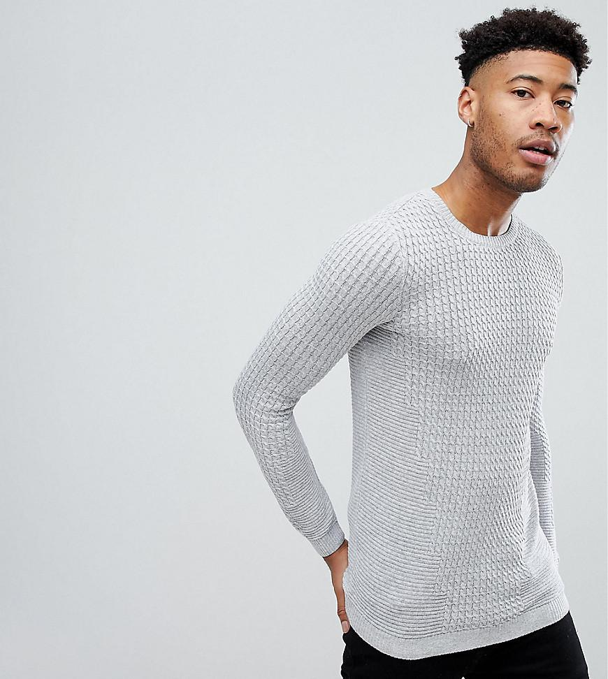 e7c63a6d7ba Lyst - ASOS Tall Lightweight Muscle Fit Cable Knit Sweater In Gray ...