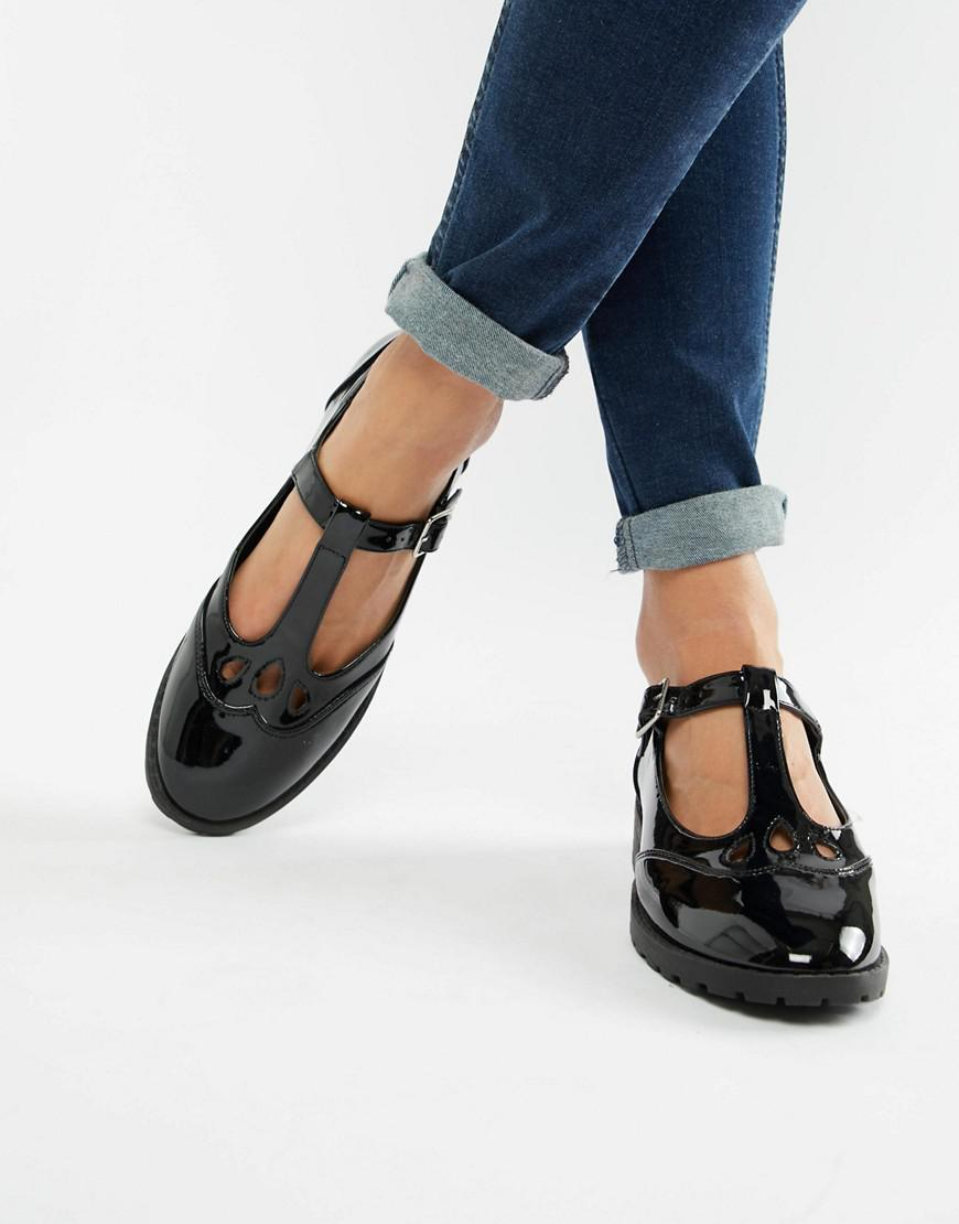 1d2f70a4c49d ASOS Marky Flat Shoes in Black - Lyst
