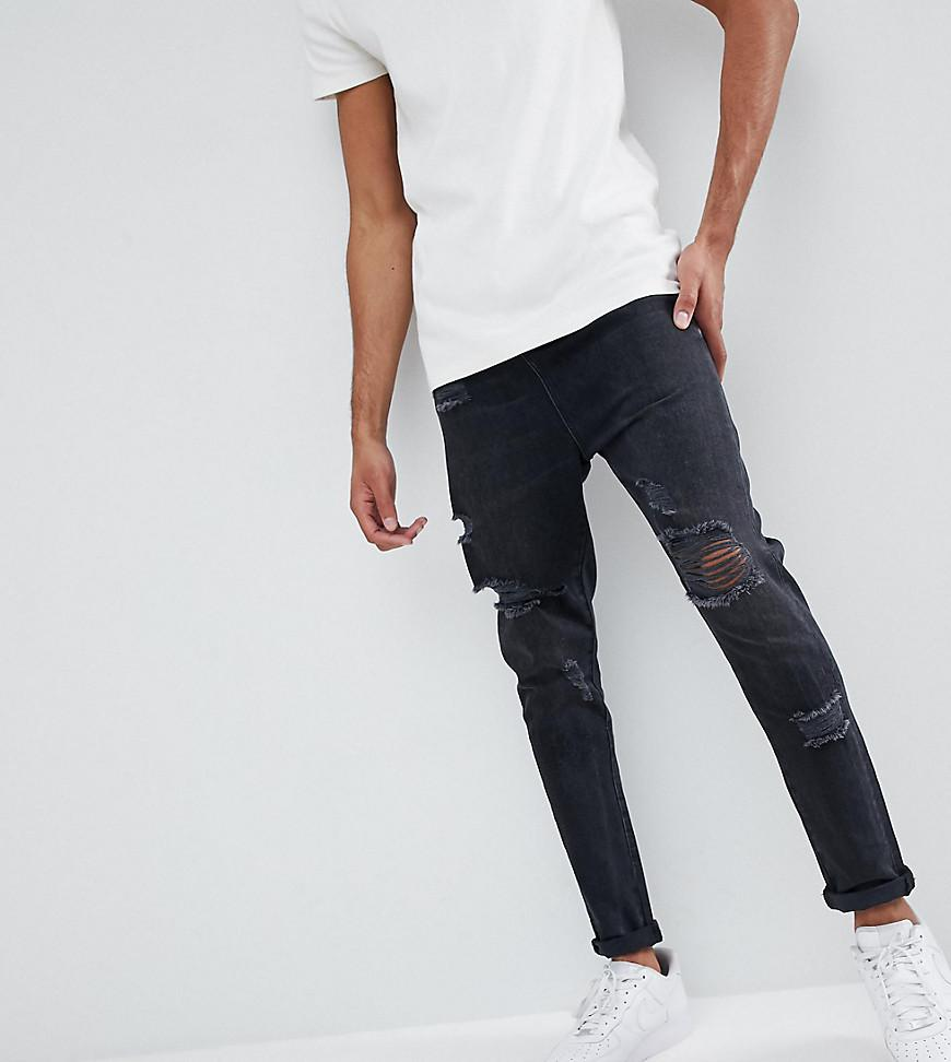DESIGN Tall Drop Crotch Jeans In Washed Black With Heavy Rips - Washed black Asos OzeXmC