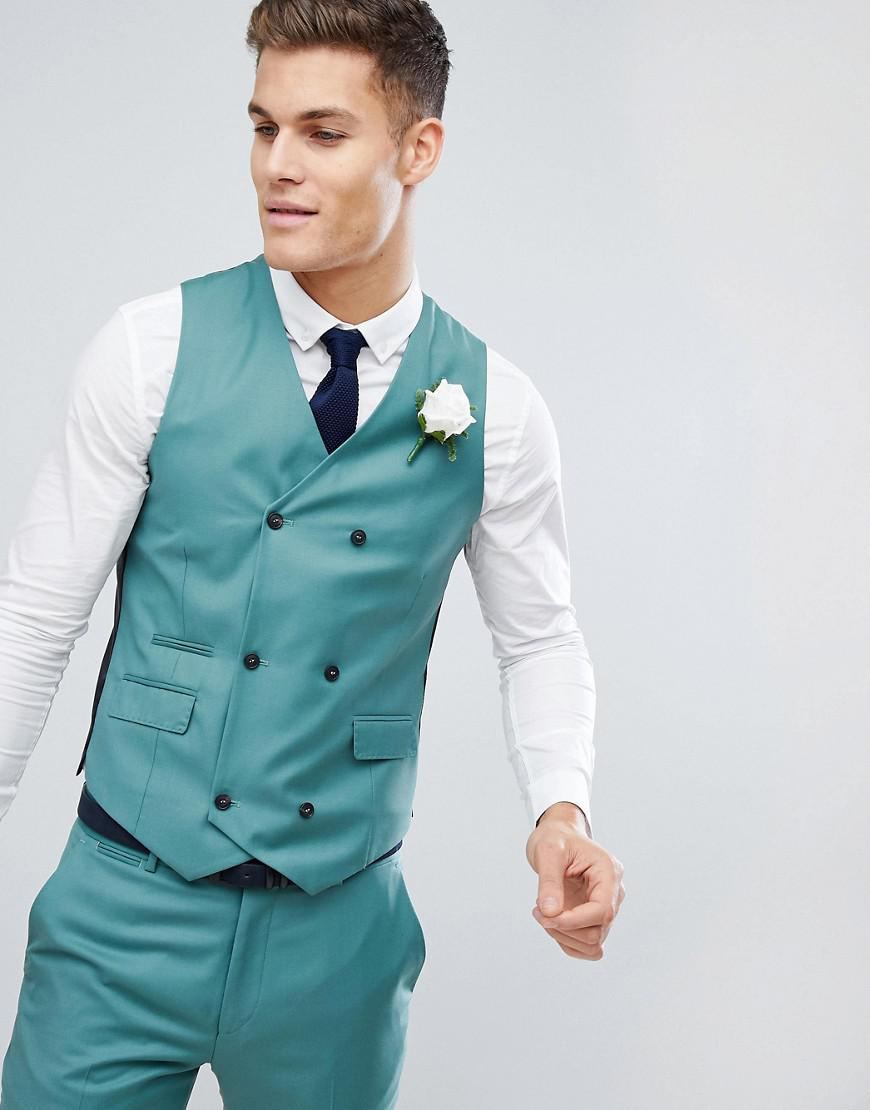 Lyst - Asos Wedding Slim Suit Waistcoat In Pine Green 100% Wool in ...