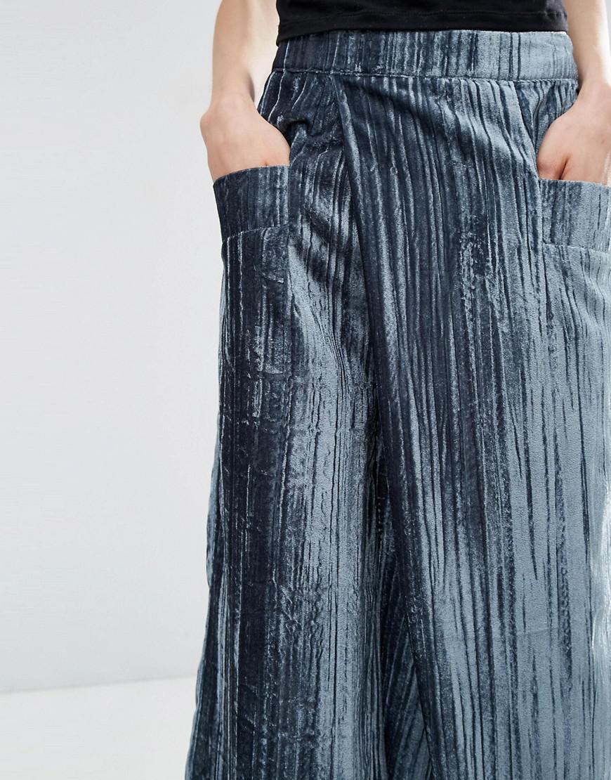 ASOS Velvet Pleated Wide Leg Trousers in Green