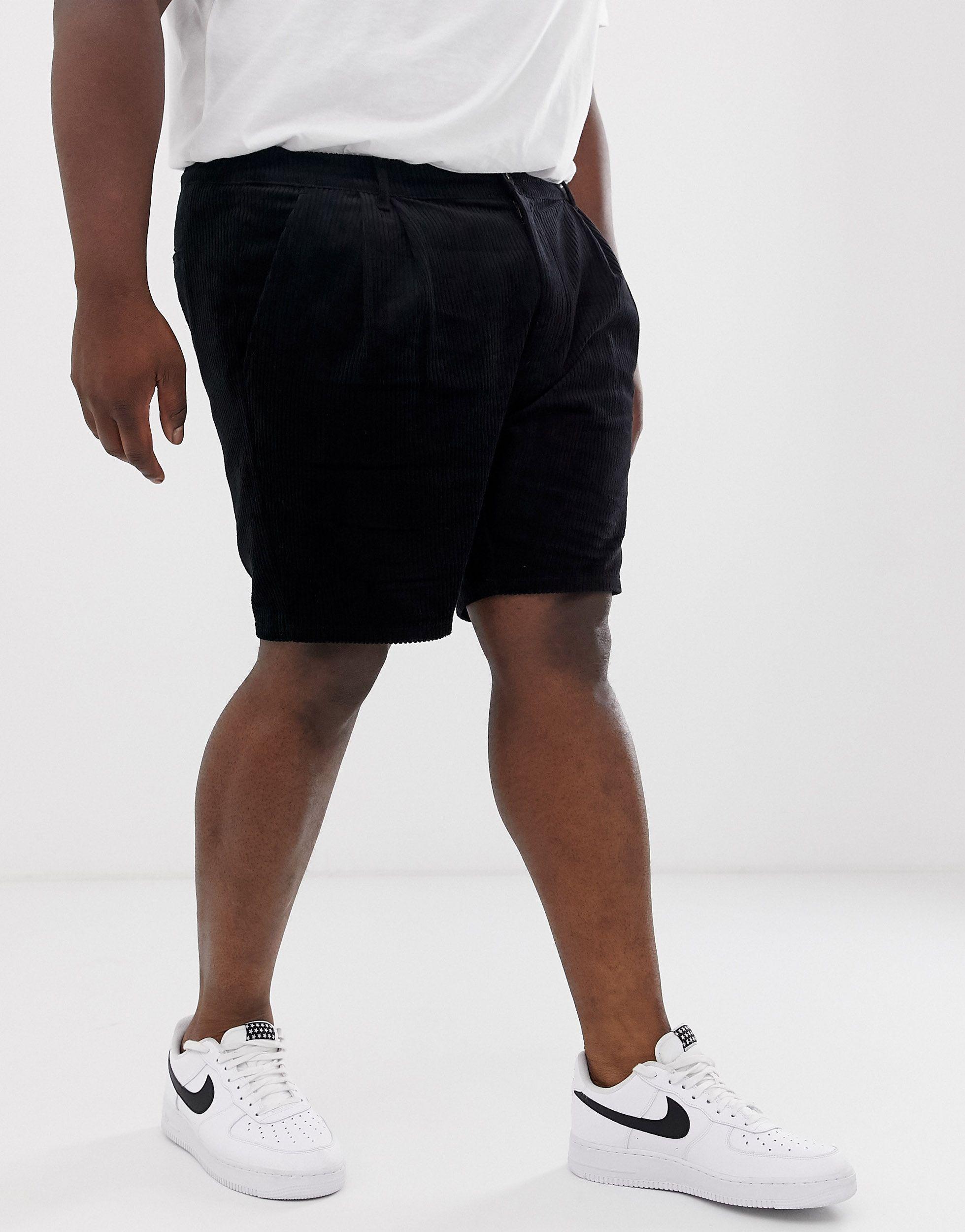 ASOS Denim Plus - Smalle Corduroy Short Met Plooien in het Zwart voor heren
