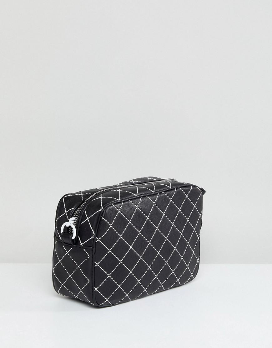 Mango Denim Quilted Contrast Cross Body Bag in Black