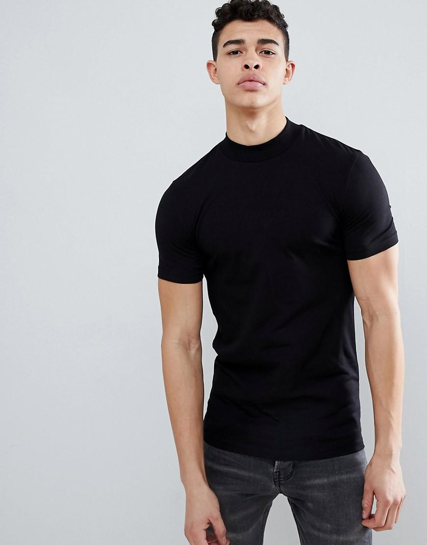 19892c2e990 ASOS Muscle Fit Turtle Neck T-shirt With Stretch In Black in Black ...