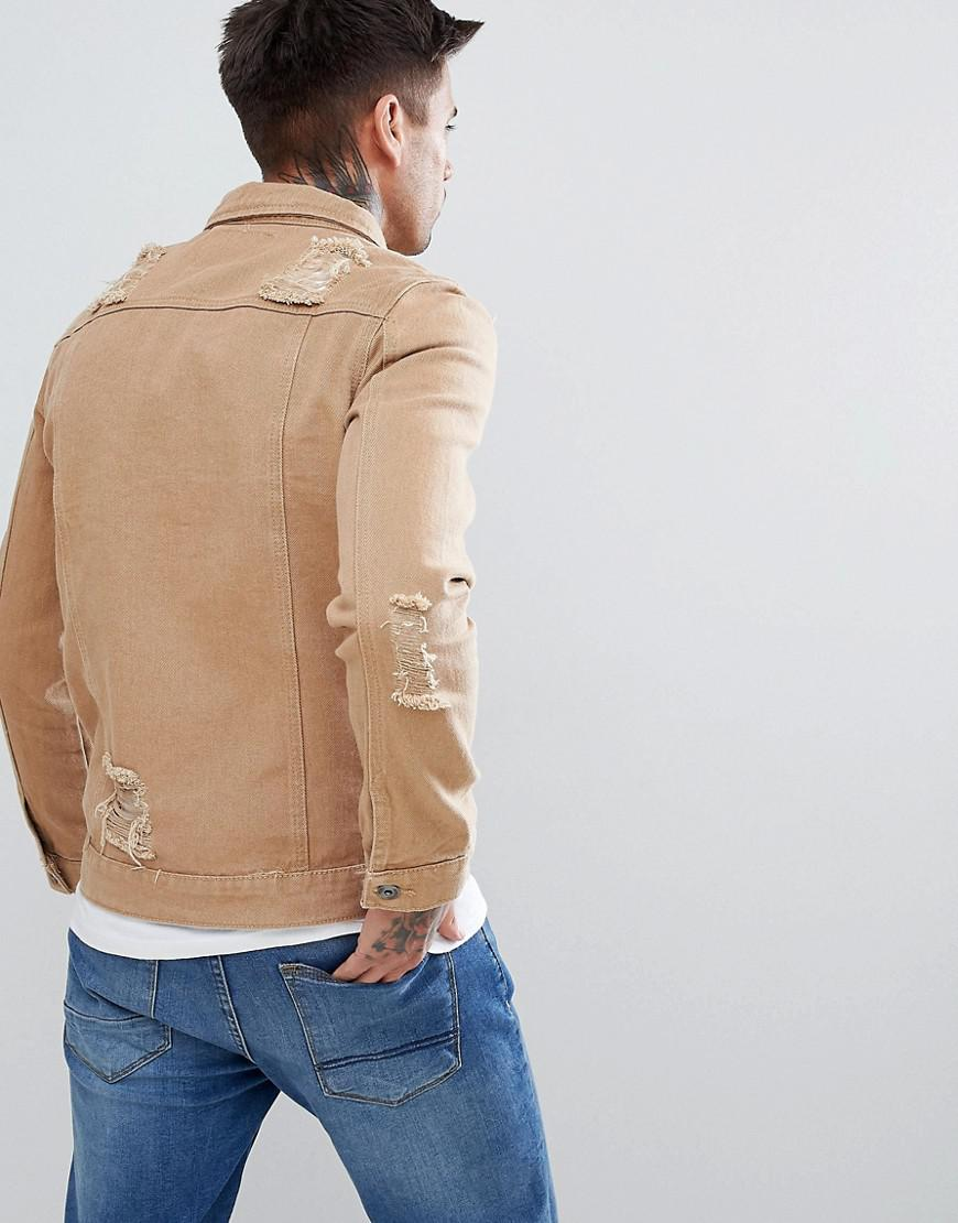 Liquor N Poker Ripped Denim Jacket Tan in Beige (Natural) for Men