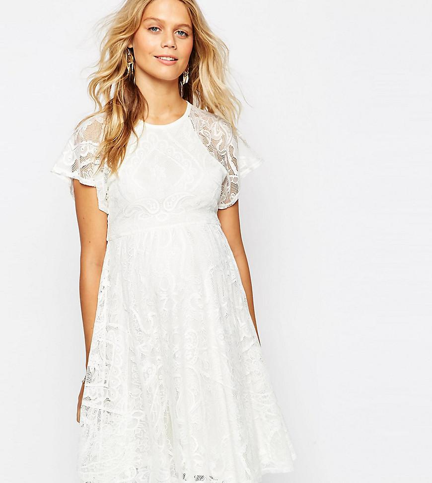 Asos flutter sleeve lace skater dress in white lyst asos ombrellifo Choice Image