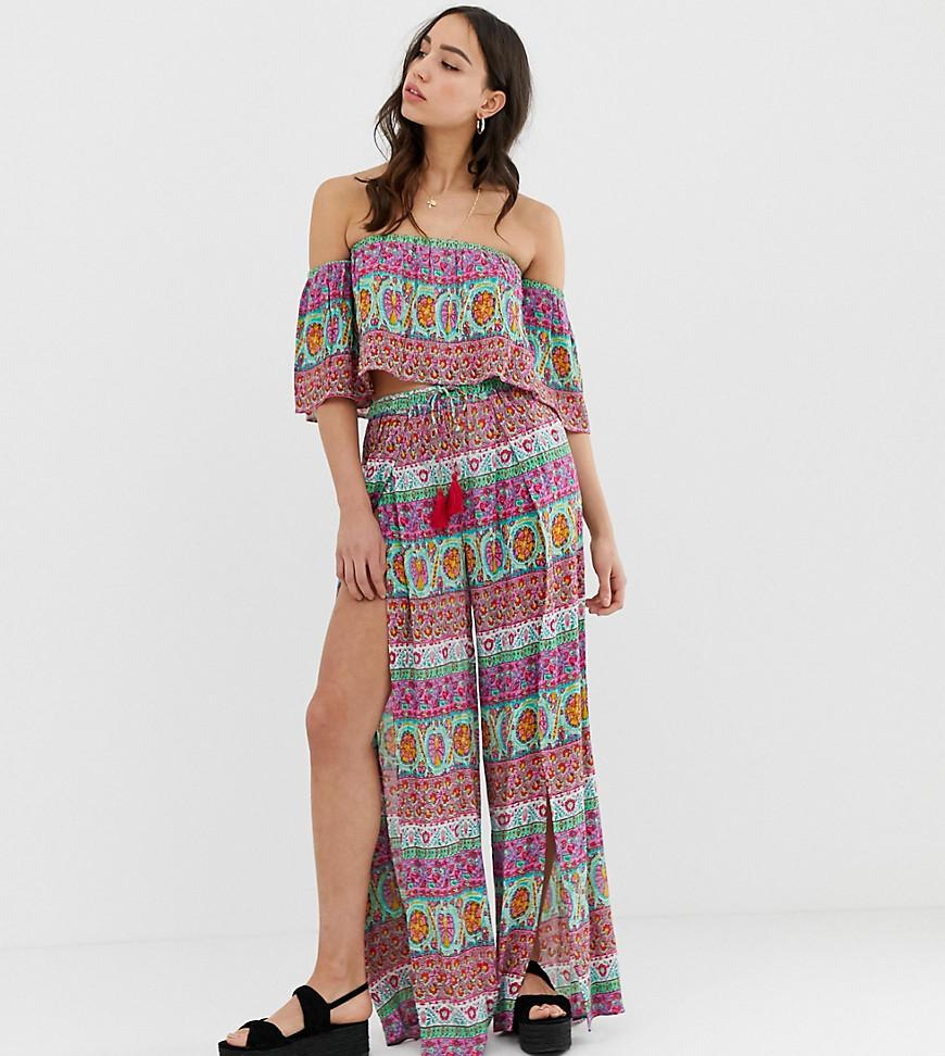 677ac934e2 ASOS. Women's Asos Design Tall Split Front Beach Trousers In Tile Print Co- ord