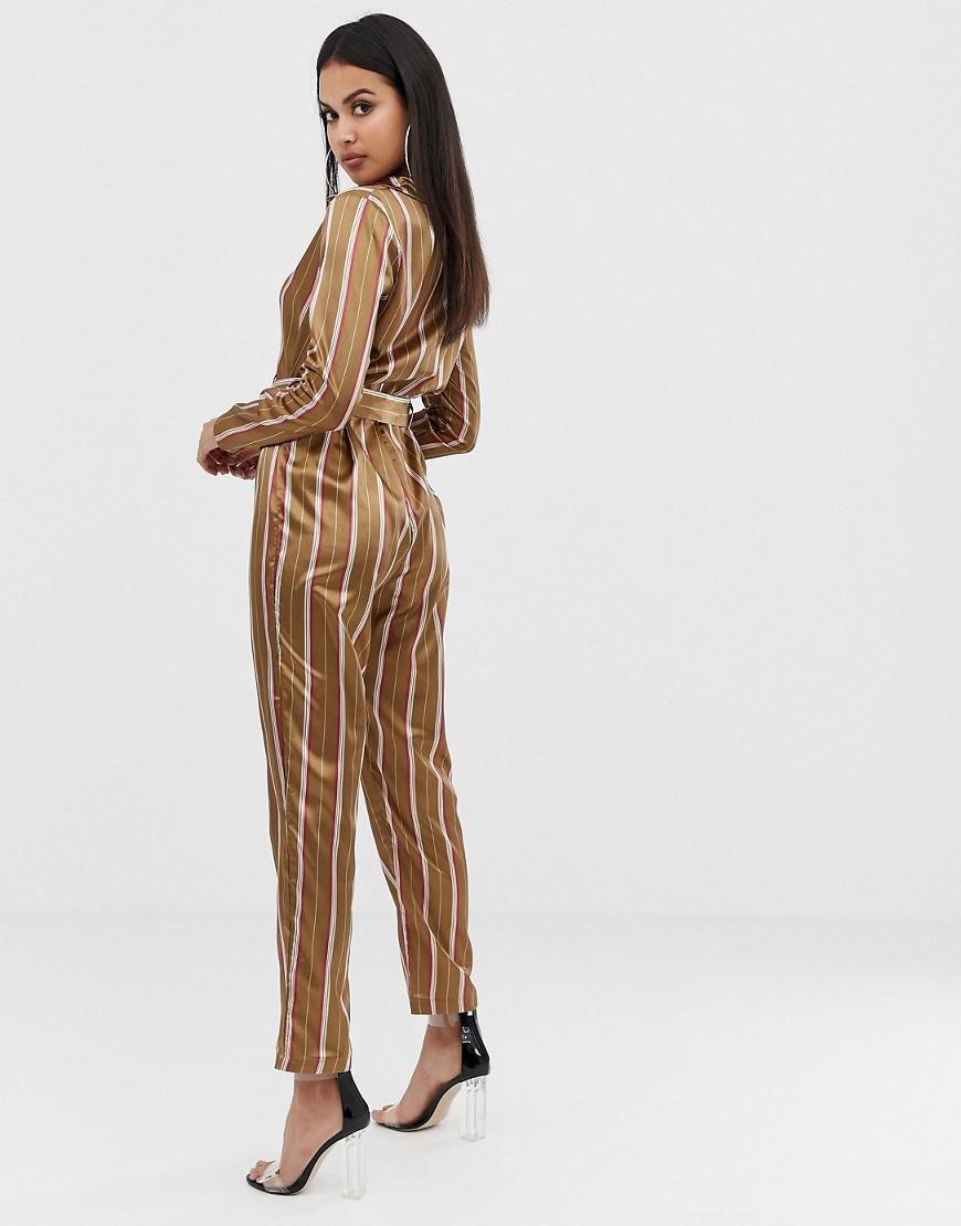 5f9769f317fd PrettyLittleThing Satin Belted Jumpsuit In Camel Stripe in Natural - Lyst