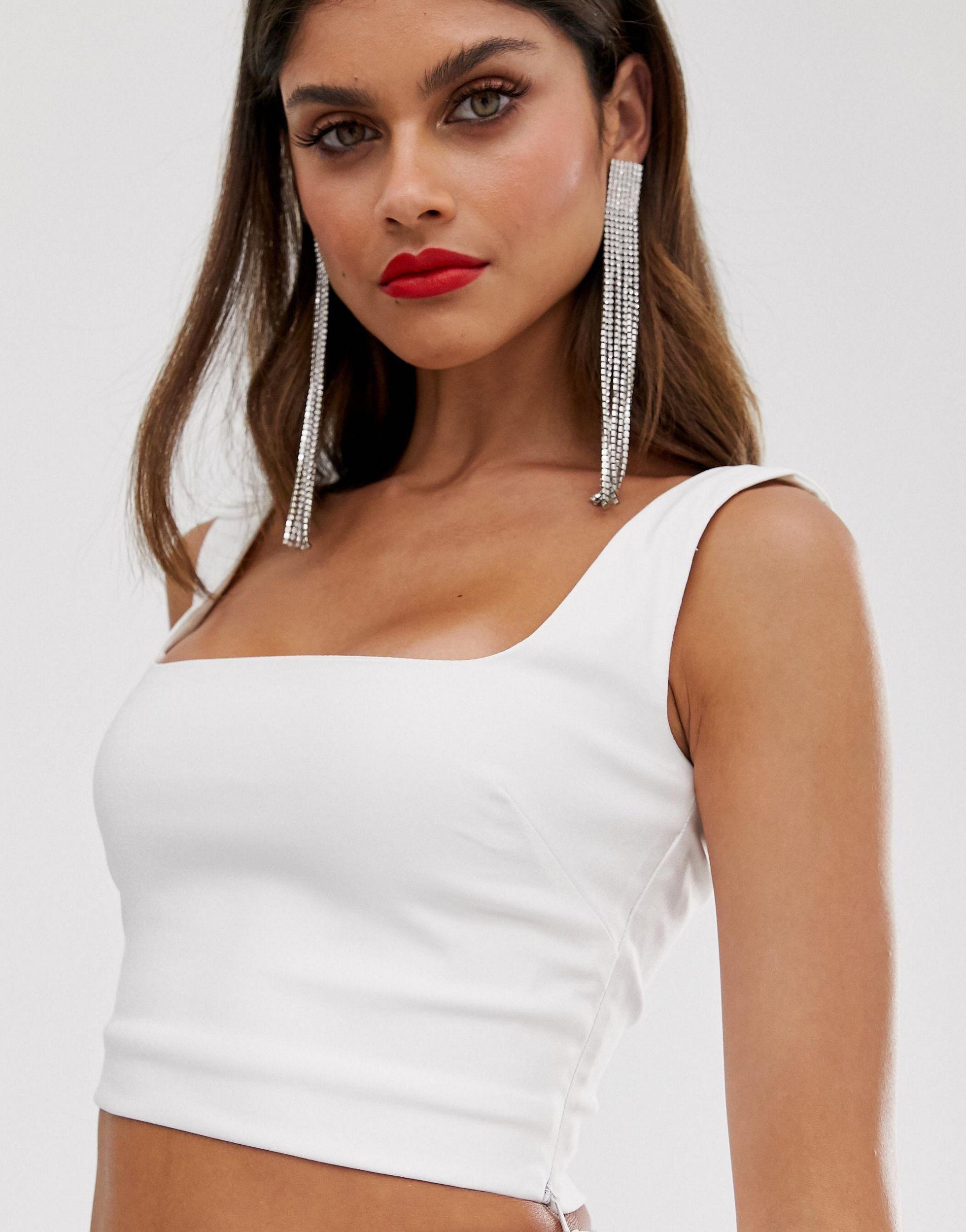 Top corto con escote cuadrado en blanco Vesper de Tejido sintético de color Blanco
