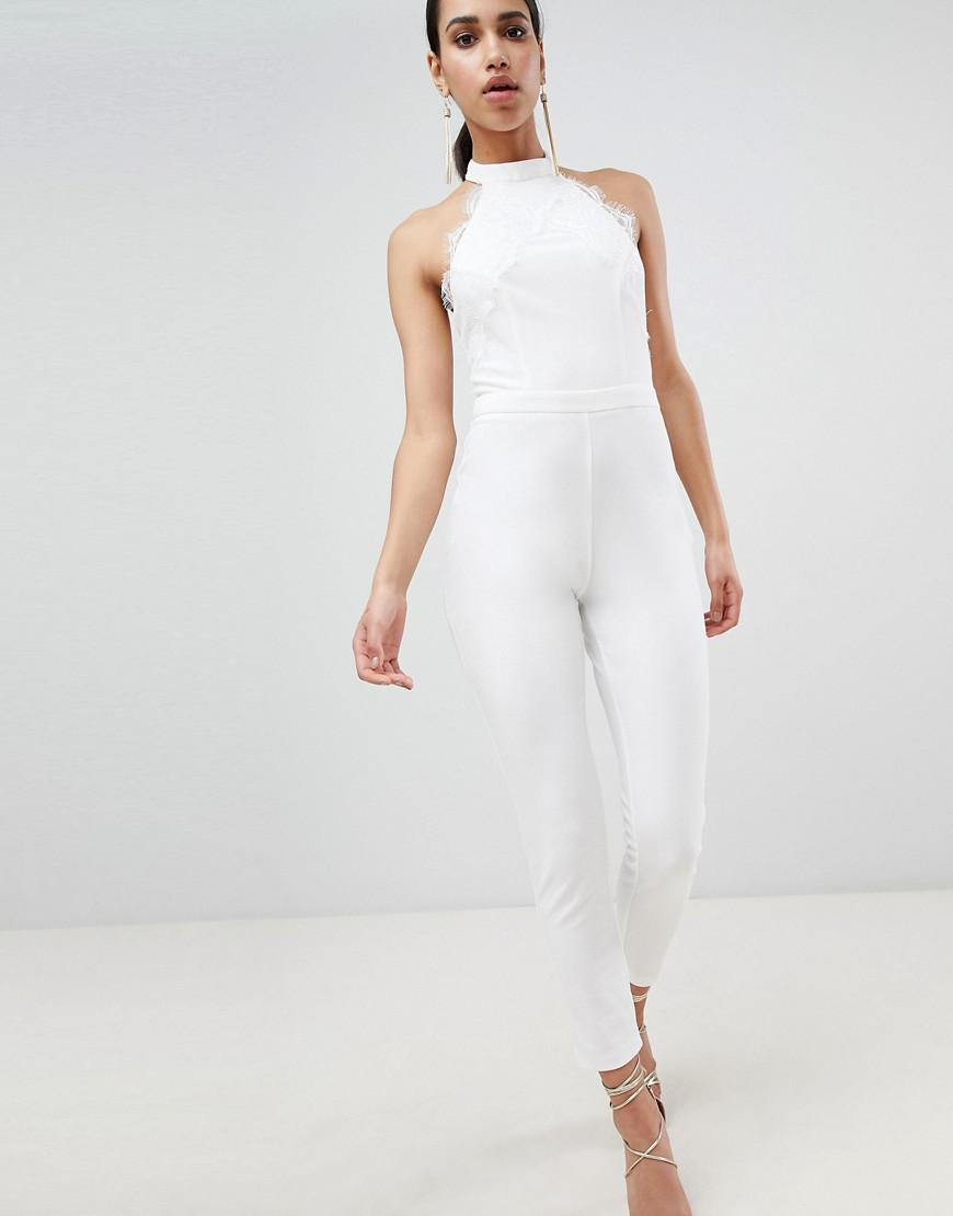 fbd5a7cda4 Lyst - Lipsy Lace Detail Jumpsuit in White
