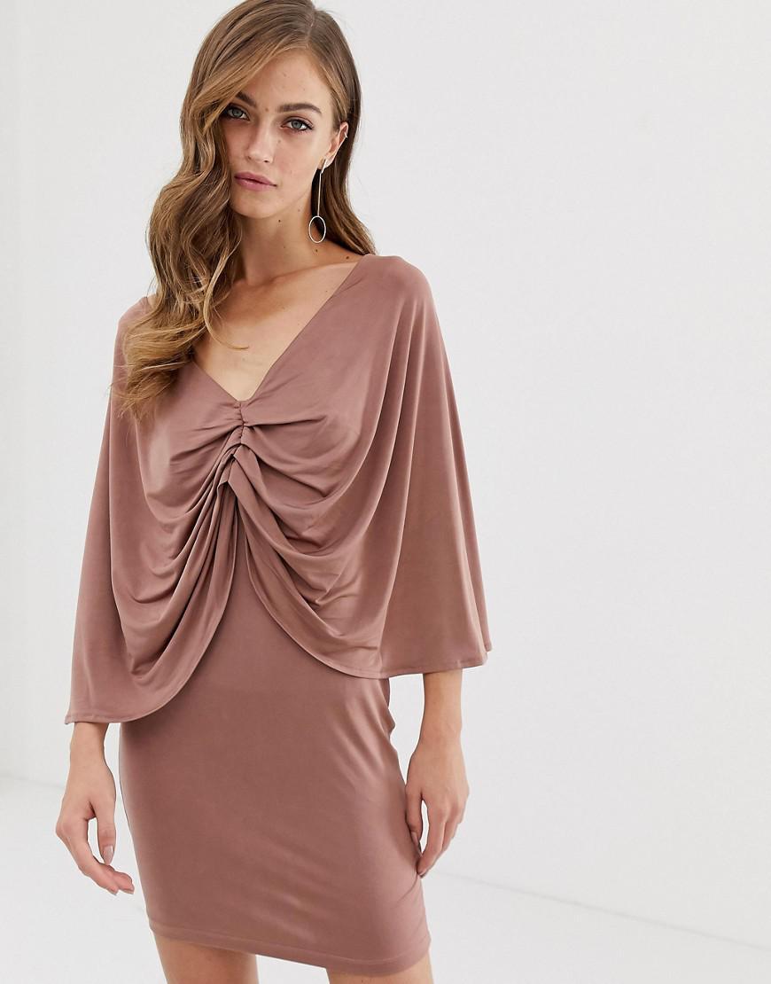 a1122a3bfe6cb ASOS Kimono Sleeve Drape Knot Back Mini Dress in Pink - Lyst