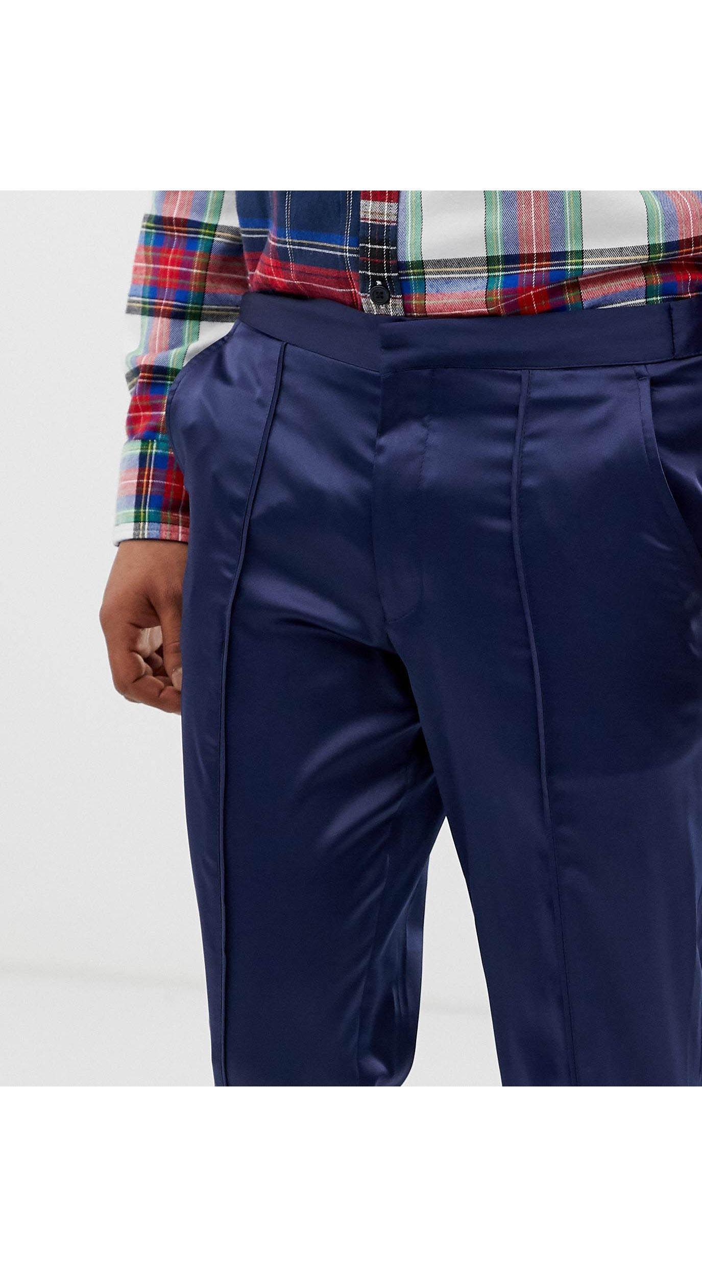 ASOS Denim Asos - Skinny Crop Marineblauwe Satijnen Nette Broek Met Biezen in het Blauw voor heren