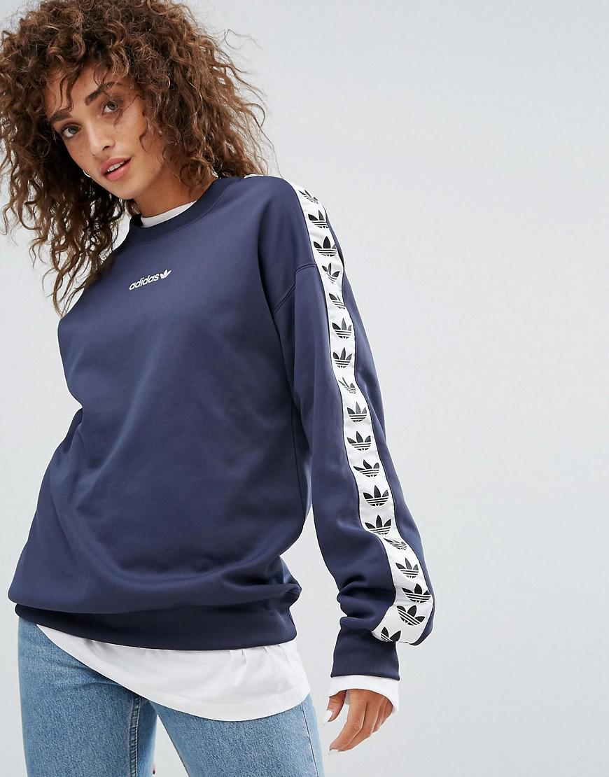 8b7a18d5b8 adidas Originals Tnt Taped Side Stripe Crew Neck Sweat In Navy Blue ...
