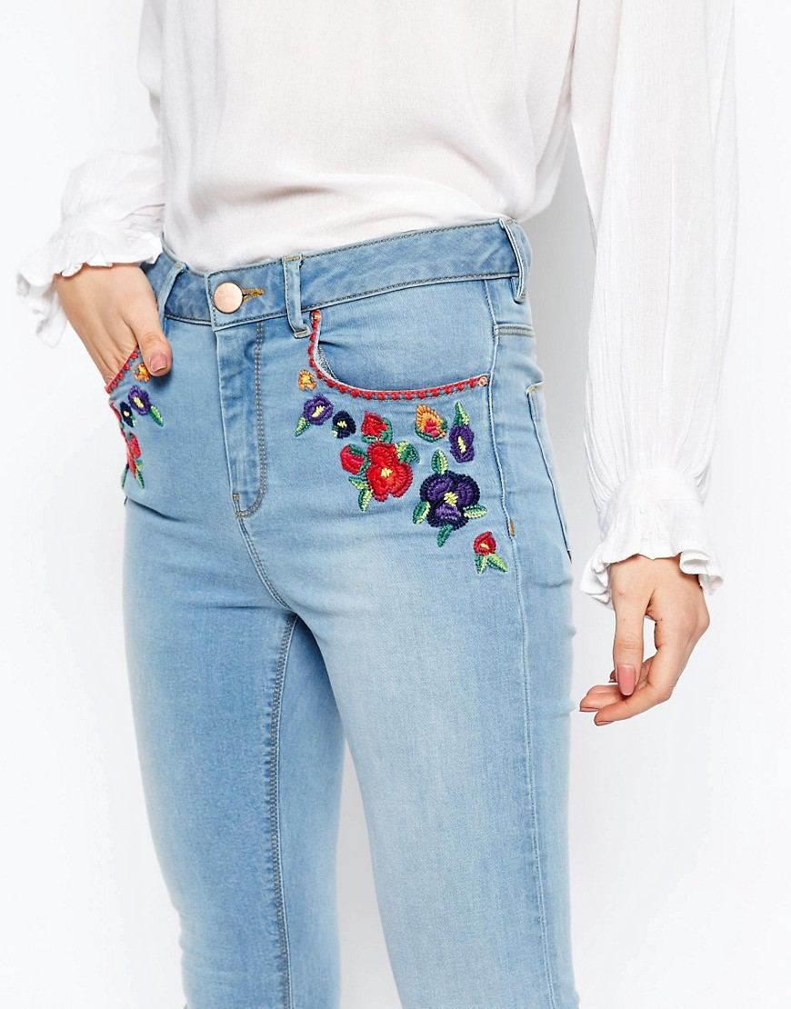 Asos Ridley Skinny Ankle Grazer Jeans In Surf Wash With