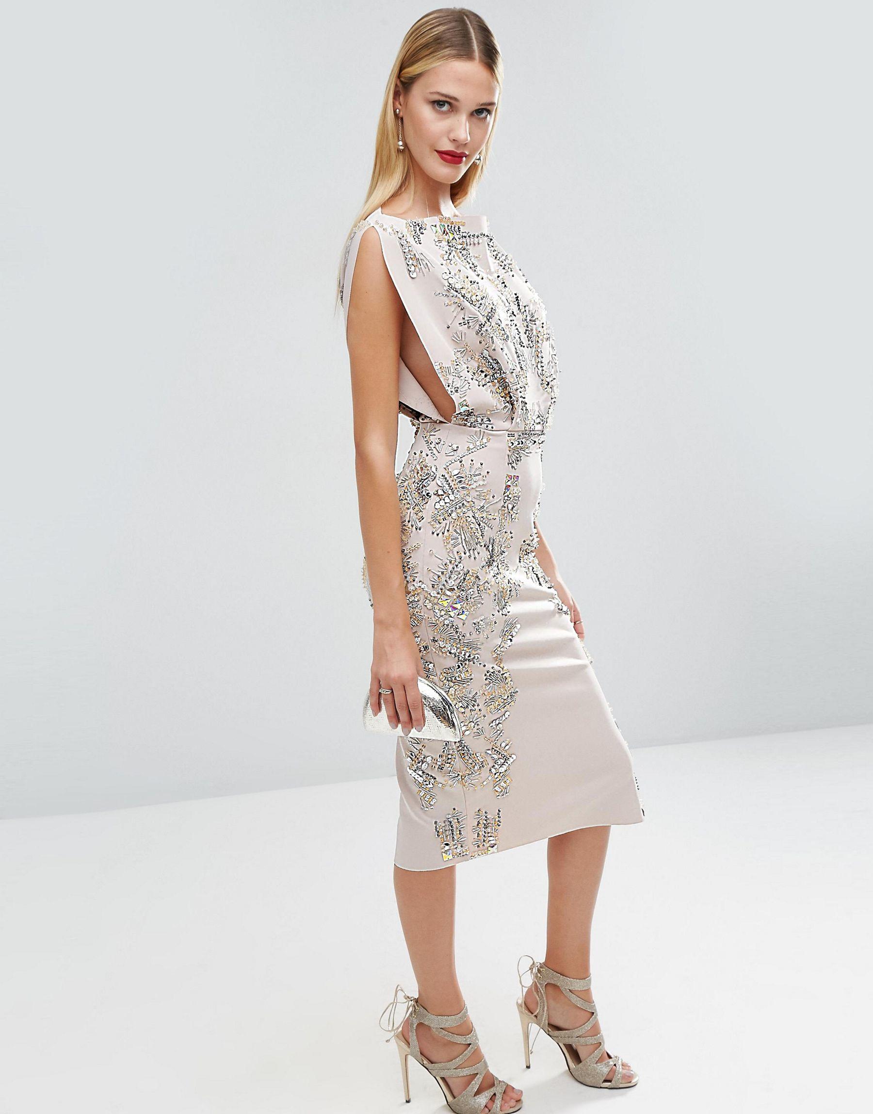 8e4a30f92c1e Lyst - ASOS Red Carpet Open Top Scuba Embellished Midi Dress