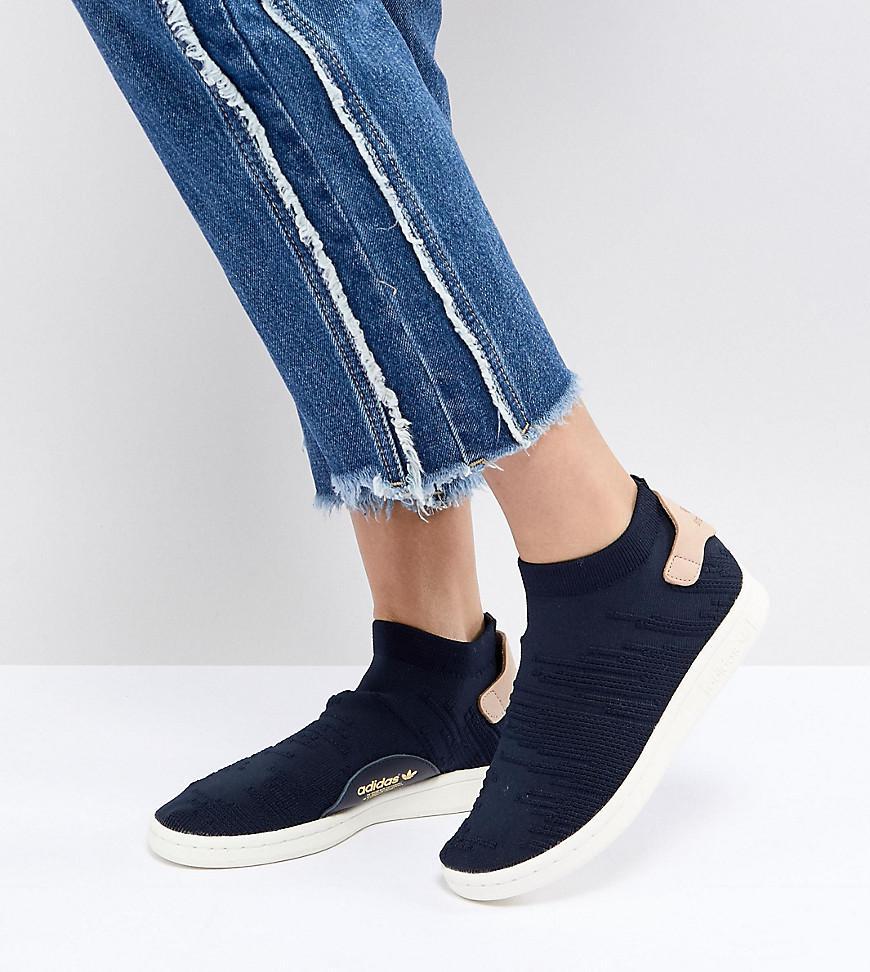 adidas Originals Stan Smith Sock Primeknit Sneakers In Navy in ...