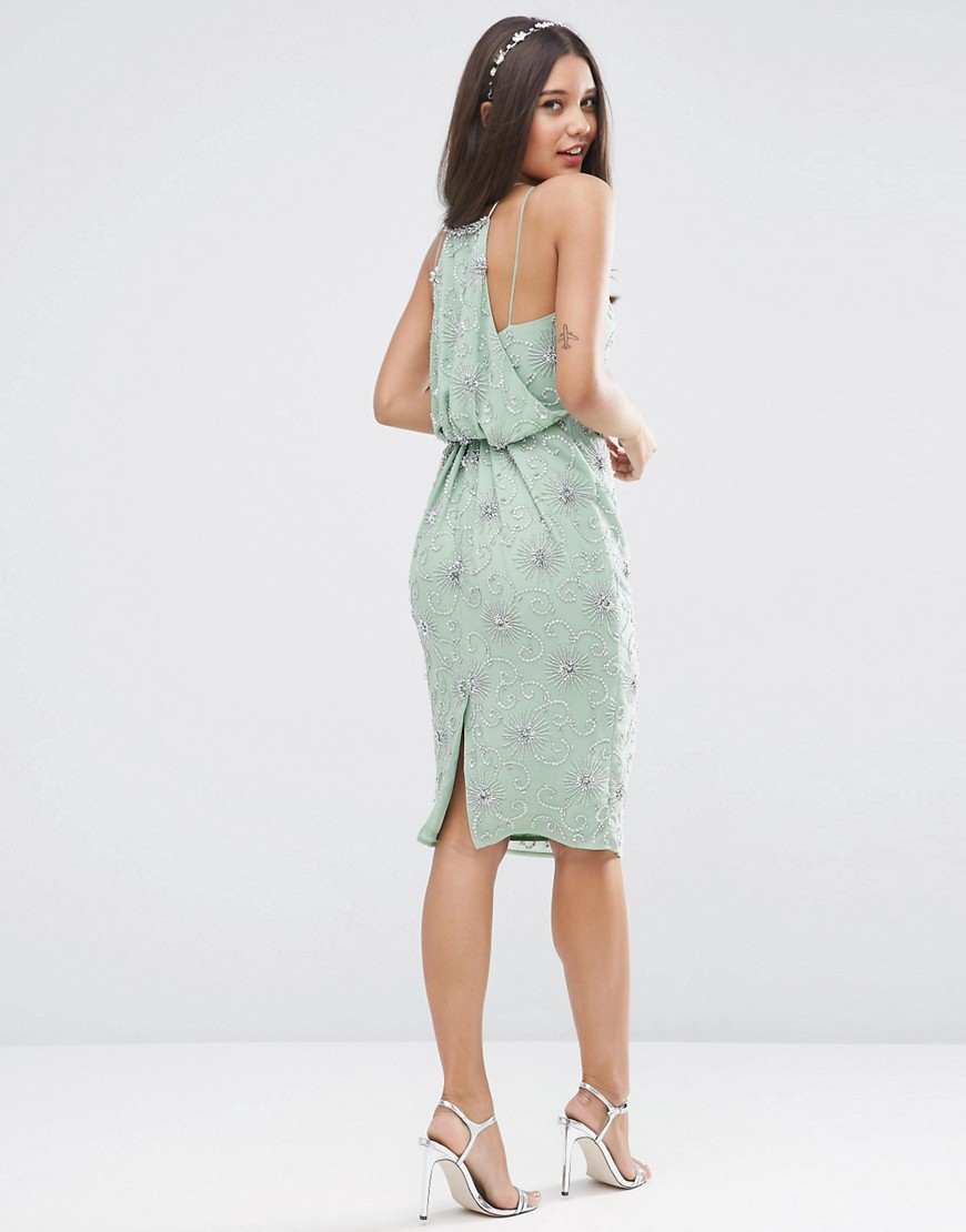 Asos Tall Wedding Embellished Drape Back Midi Dress In