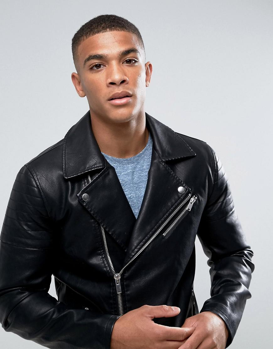 catch info for superior quality Only & Sons Faux Leather Biker Jacket in Black for Men - Lyst