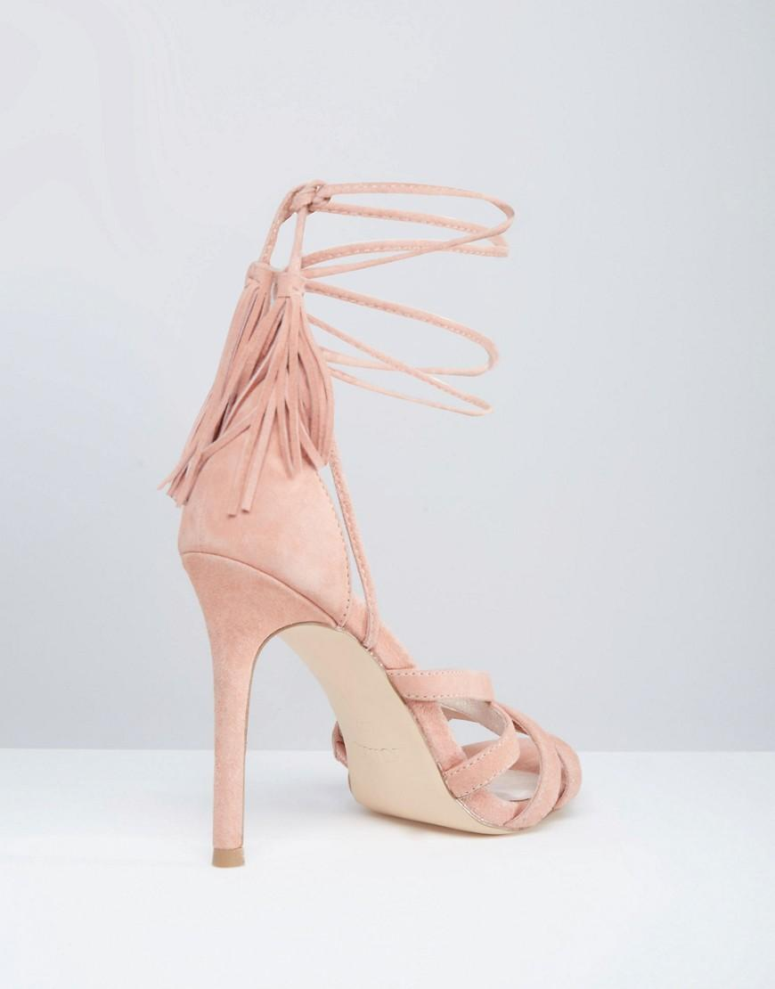 faith daft pink suede ghillie tie up heeled sandals in