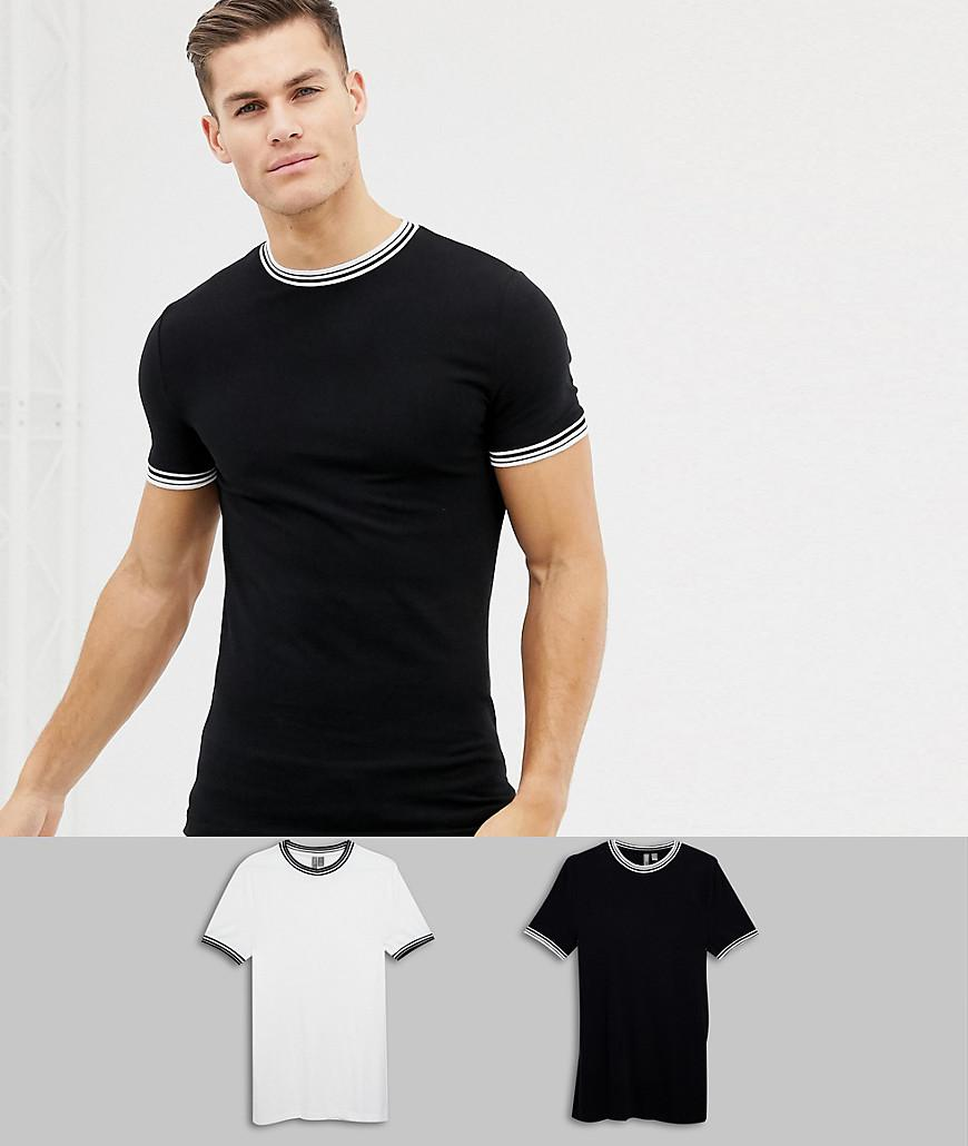 0a477213d Lyst - Asos Muscle Fit T-shirt With Tipping 2 Pack Save in Black for Men