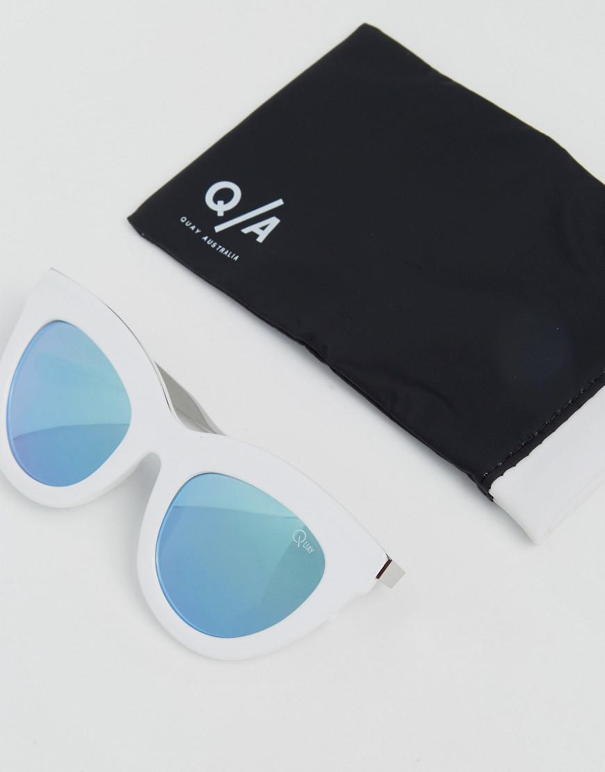 Quay Eclipse Cat Eye Sunglasses With Lilac Tinted Lens in White