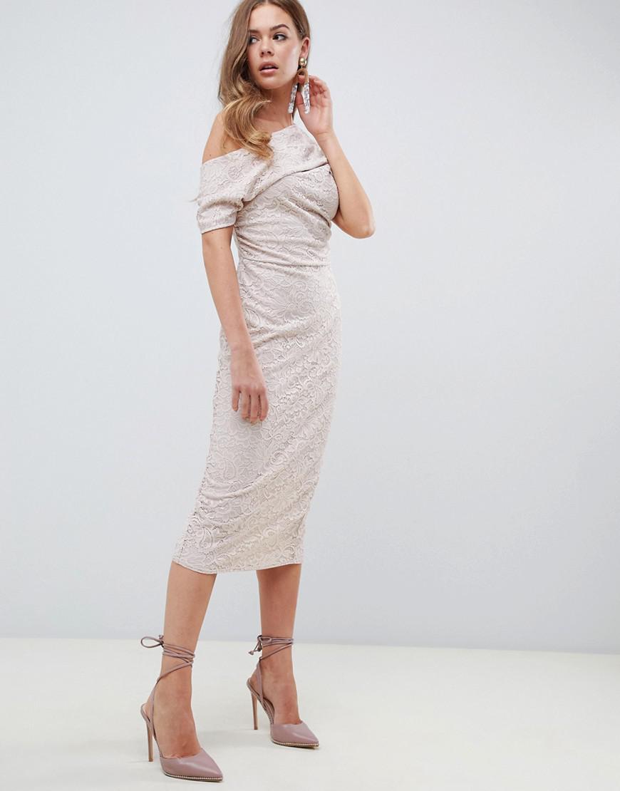 a1848bcf08 ASOS DESIGN. Women s Asos Pleated Shoulder Lace Midi Dress