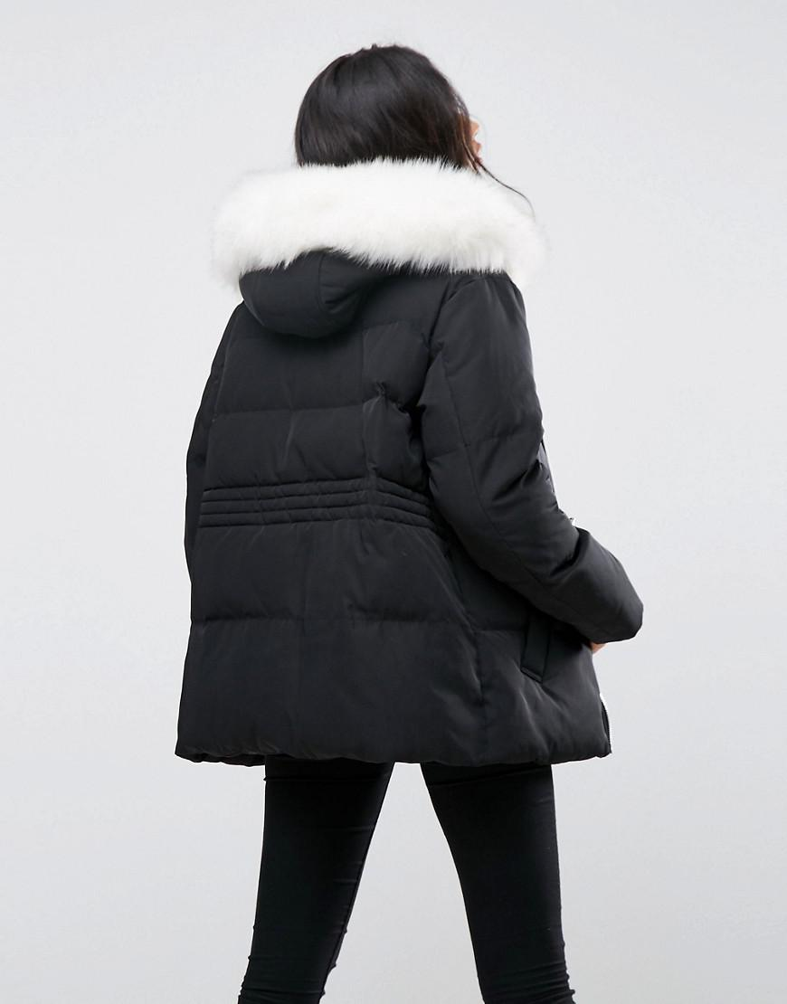Asos Denim Puffer Jacket With Tie Waist And Faux Fur Hood