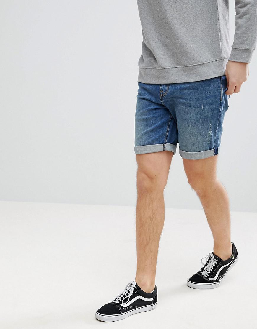 ASOS. Men's Blue Denim Shorts In Slim Mid Wash With Abrasions