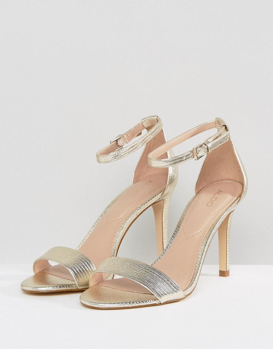 26d5f29d68bc Lyst - ALDO Camy Gold Heeled Sandals in Metallic