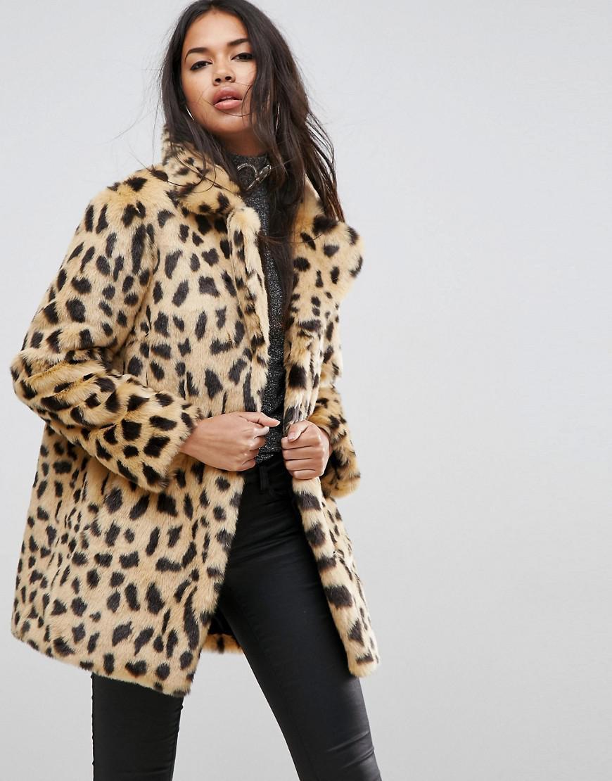 42effe518078 ASOS Faux Fur Coat In Leopard Print - Lyst