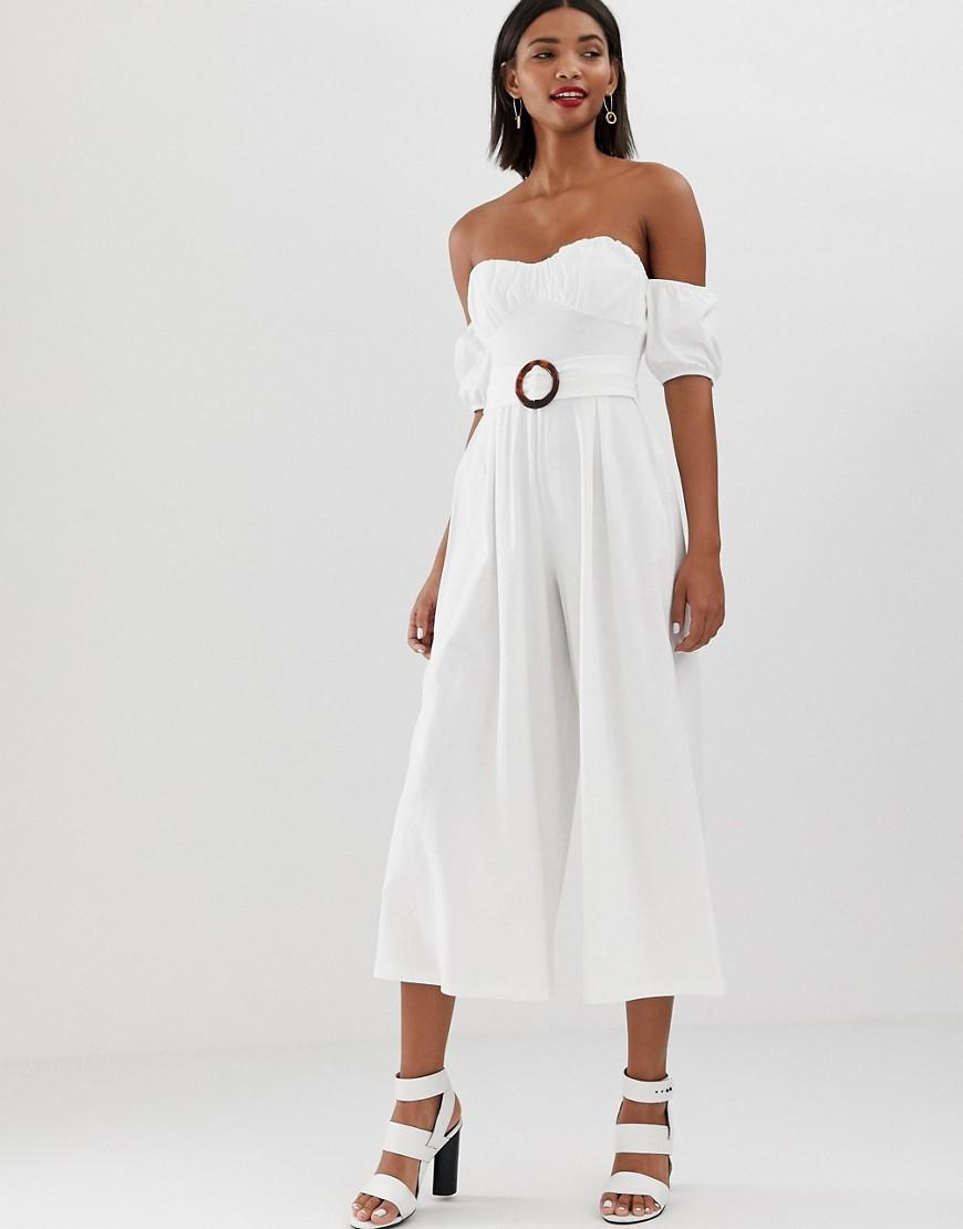 9943ed681a4a ASOS Off Shoulder Jumpsuit With Puff Sleeve And Buckle Detail in ...