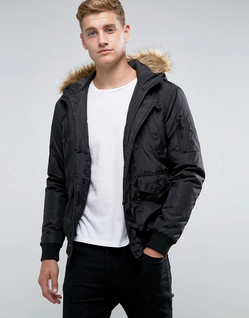 5d3ba696b French Connection Black Short Padded Parka With Faux Fur Hood for men