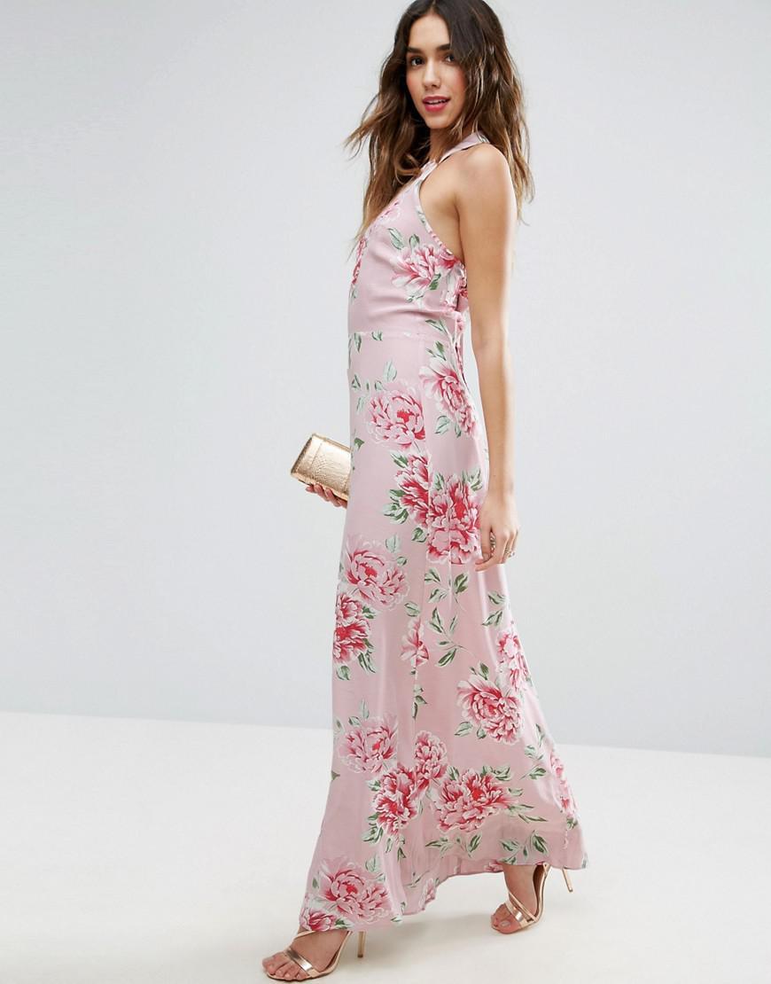 Longue Dos Fleuri Et Asos Pink Coloris À Robe Ouvert En Imprimé PON8nkZ0wX