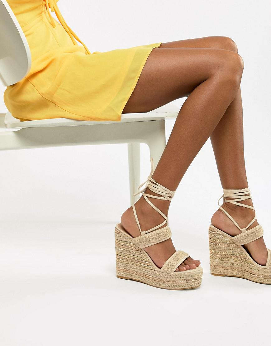 18083d3528e3 Prettylittlething Ankle Wrap Espadrille Wedges in Natural - Lyst