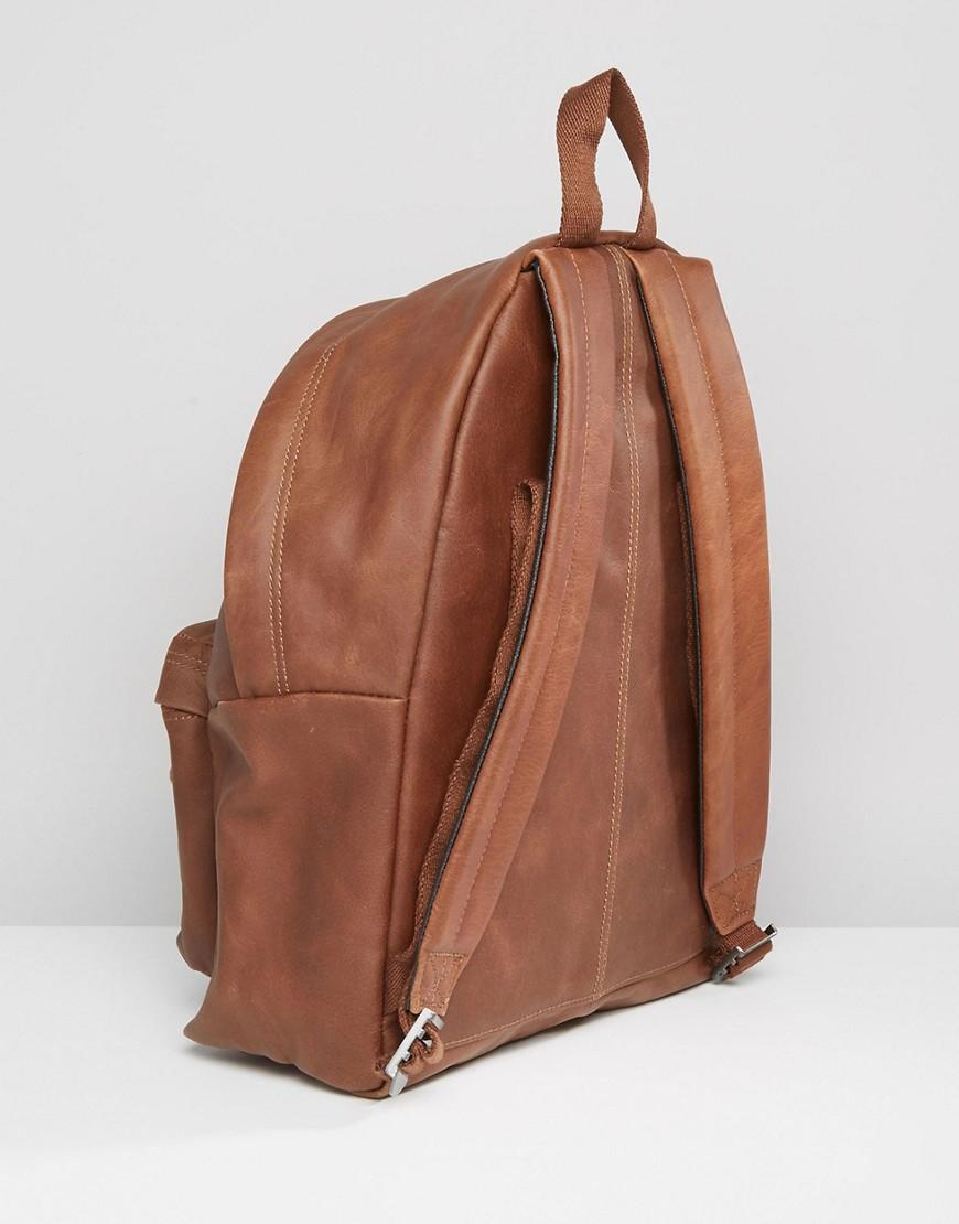 Leather Eastpak Backpack: Eastpak Padded Pak'r Leather Backpack In Brown For Men