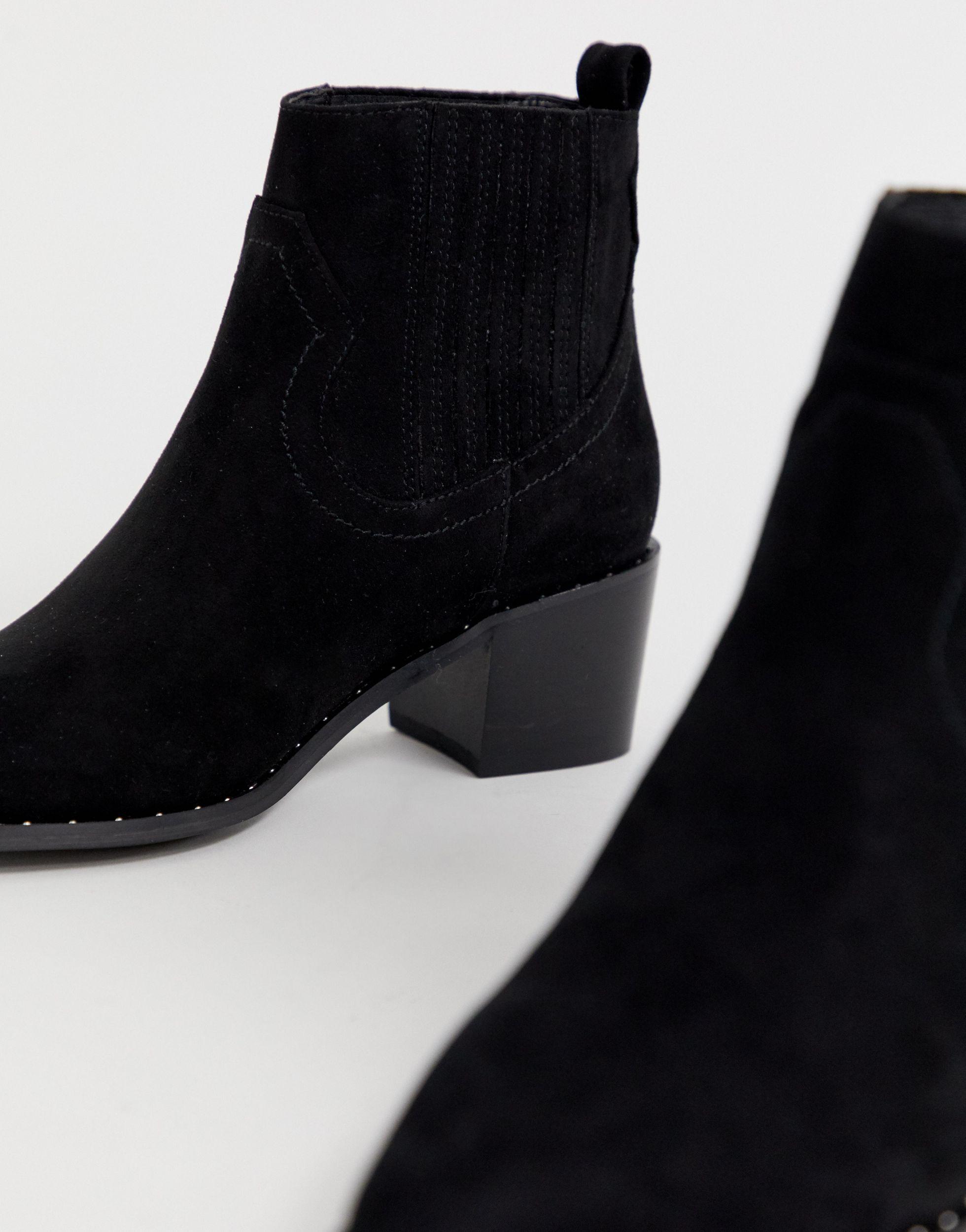 Bottines style western Daim Miss Selfridge en coloris Noir