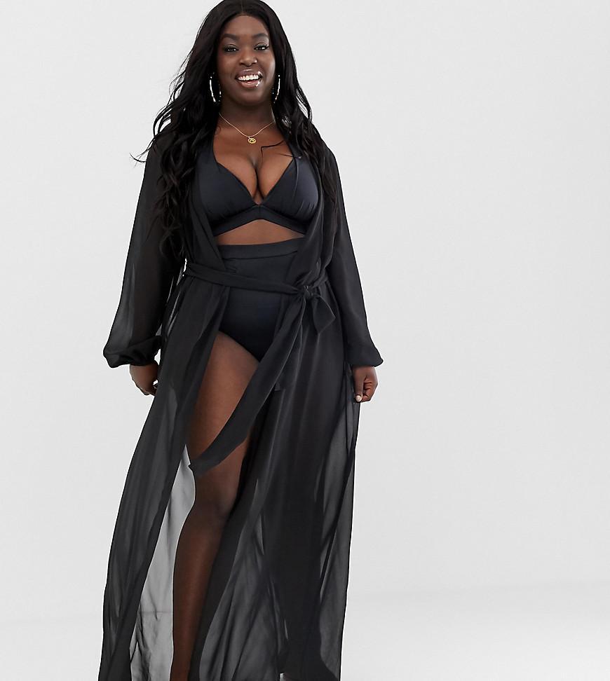 c1d94ae4a6 ASOS. Women's Asos Design Curve Recycled Long Sleeve Wrap Tie Chiffon Maxi  Beach Kimono ...