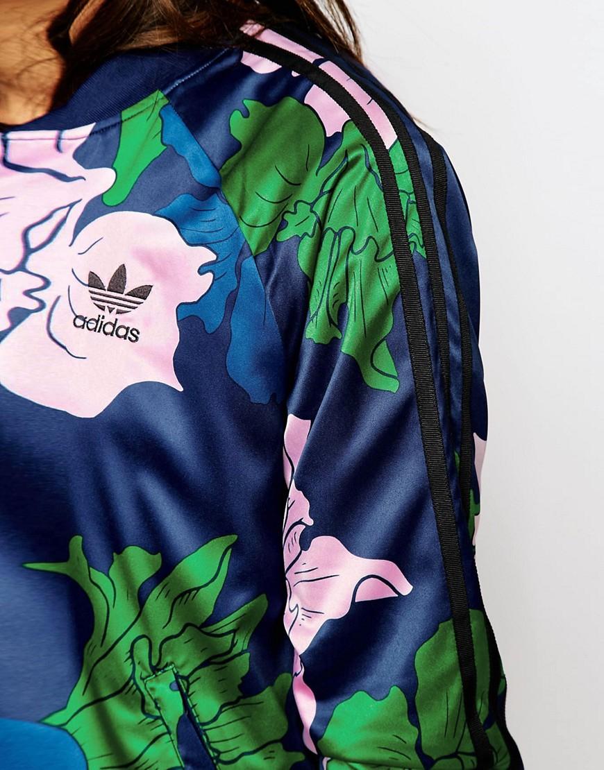 05a68651de09 Lyst - adidas Originals Originals 3 Stripe Bomber In Engraved Floral ...